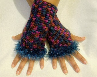 Crocheted Fingerless Gloves with Eyelash Trim in Teal and Raspberry