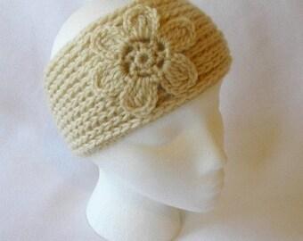Crocheted Womens Flower Headband Ear Warmers in Beige