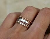 Stacking rings, gold ring, rose gold ring, set of 6, Blue Sunflowers Original