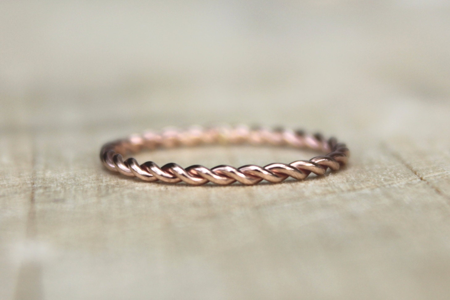 Rose Gold Twist Ring Pink Gold Fill Stackable Ring Karma
