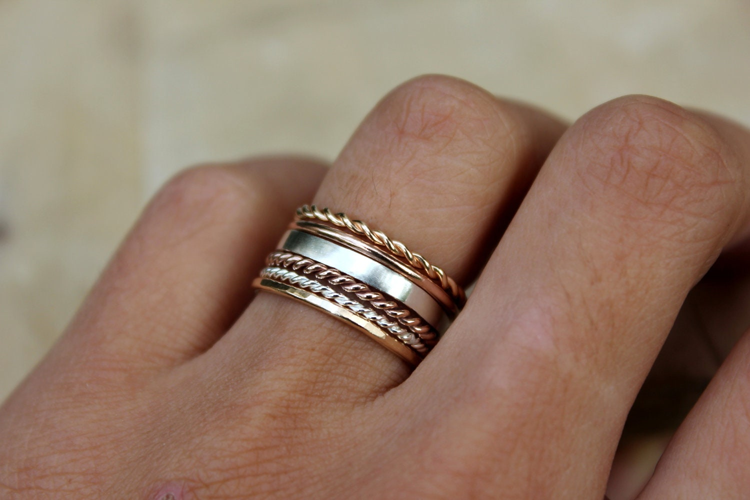 stacking rings gold ring rose gold ring set of 6 blue