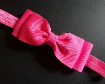 Neon Pink Hair Bow Headband. Neon Pink Baby Headband. Bow Headband. Baby Hair Accessories. Baby Girls Hair Accessories