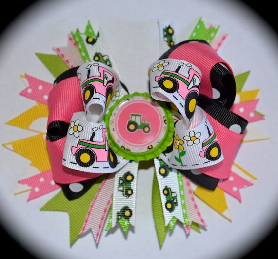 Custom Boutique toddlers girls Pink Black Green Yellow John Deere Tractor Bottlecap Birthday Party Hair Bow