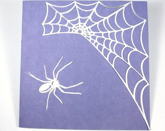Simple Silver Spider Card - Halloween, Samhain, web, purple, classic, Charolette's Web