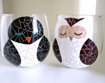 Mosaic Owl and Penguin Duo- Hand Painted Wine Glasses- Stemmed or Stemless