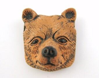 1pcs Brown Bear Bead - Grizzly Bear Head Pendant - Woodland Animal Charms Animal Totem Face - Wild Zoo Animal DIY Jewelry Supply Craft H36