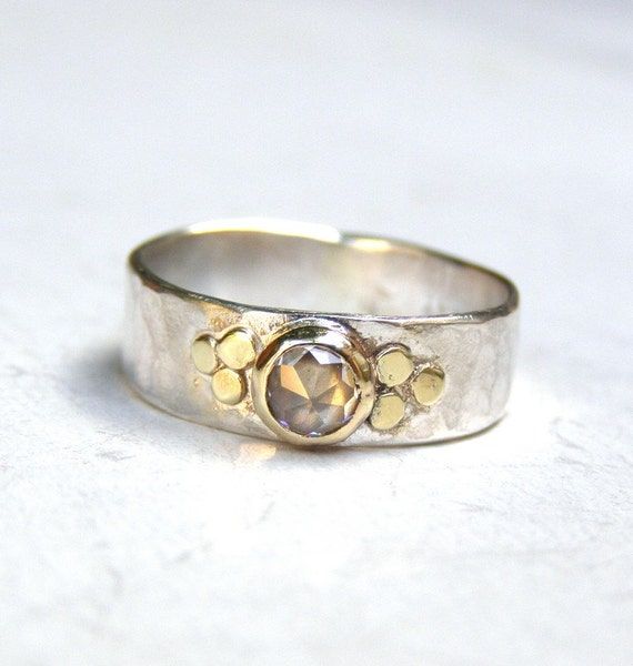 unique engagement ring lab diamonds ring gold and silver