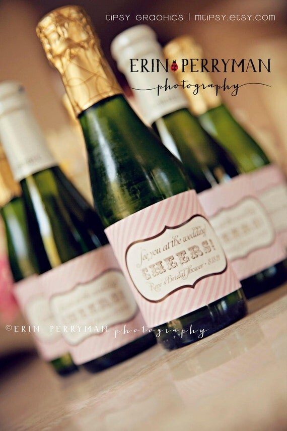 Personalized Printable Champagne Label Sticker Design. Cheers. Vintage Stripes.  Pink Gold. Wedding DIY Wine Labels, any text and colors