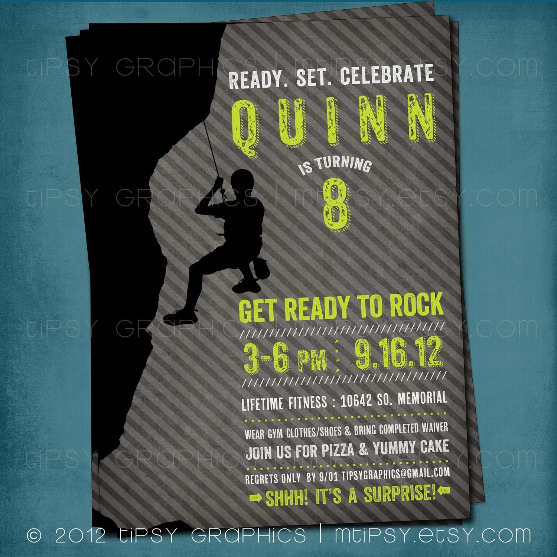 Ready to Rock Rock Climbing Birthday Party Invite for Big – Rock Climbing Birthday Party Invitations