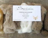 Clouds of Luxury -  5 Natural Shades Fiber Sampler Kit and FREE Fingerless Glove Pattern