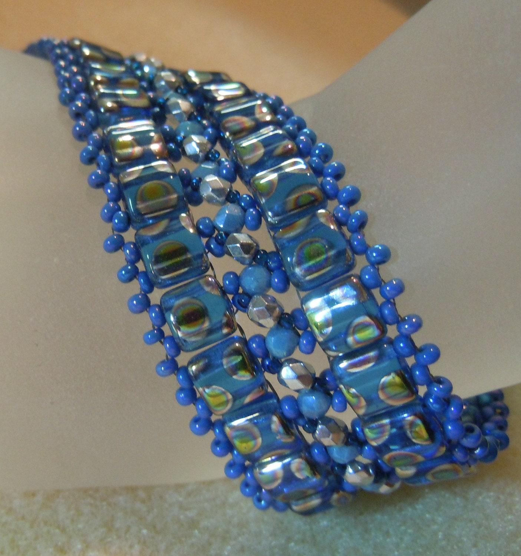 Pattern A Pebbled Path Bracelet 2 Hole Czechmate Tile Beads
