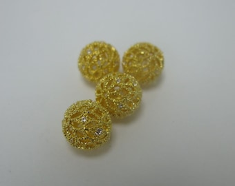 2 pcs yellow gold color metal with cubic zirconia filigree ball pave beads