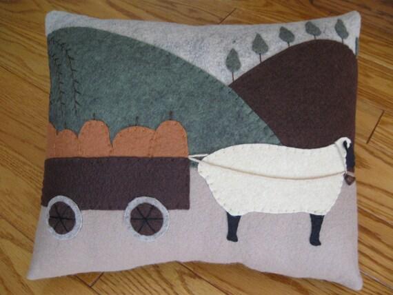 Sheep Carting Pumpkins Primitive Country Pillow