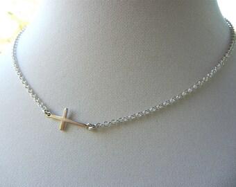 Sterling Silver Jewelry  Sideways Cross Necklace, Cross Necklace