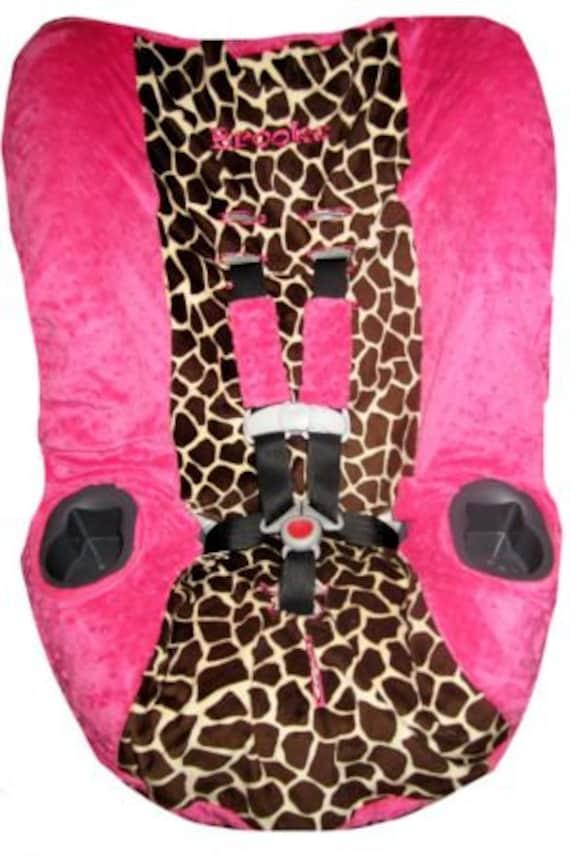 Giraffe Amp Fuchsia Minky Car Seat Cover For Graco Myride 65 Or