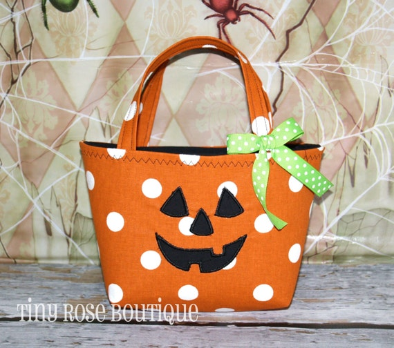 Halloween Pumpkin Trick or Treat Tote Bag - Baby's First Halloween- Add a Name or Monogram