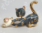 Vintage Articulated Cat and Mouse Brooch pin with rhinestones and power blue enamel
