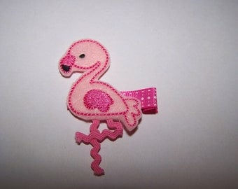 Girls Felt Pink Flamingo Hair Clip - Flamingo Hair Clippie - Girls Flamingo Hair Accessory