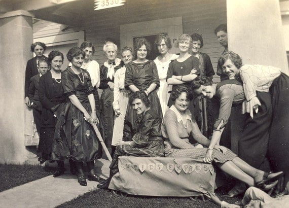 CUPID EXPRESS Girlfriends Sitting On Dressed Up Wagon Photo Circa 1920