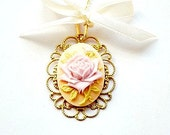 Cream and Lavender - Pastel cameo necklace  - a pastel necklace with a floral cameo and a delicate cream ribbon - Europe