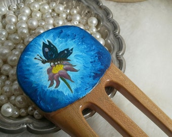 Sale Cherry Hair Fork with Oil Painting of a Butterfly