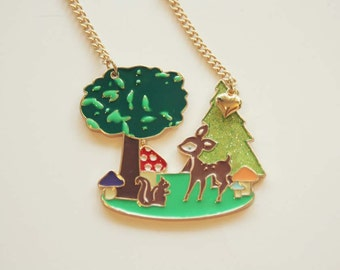Bambi deer fawn in the enchanted forest necklace