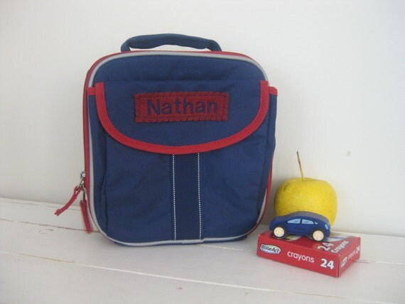 Boy's Lunch Box With Monogram Upcycled Pottery Barn (Fairfax) -- Navy With Red Trim