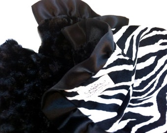 Lovey Sized Zebra Minky Baby Blanket Black and White with Satin Trim