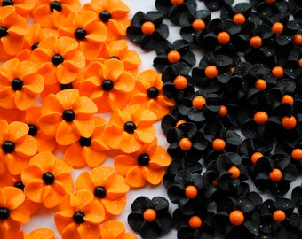 Royal Icing Flowers- Halloween MIx with Sparkles- Mixed Sizes (40)