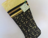 Elegant Gold & Black Christmas Stocking with curly elfin toe
