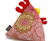 Pink Flower Funky Chicken Doorstop (fill at home with rice)