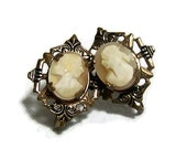 Vintage Cameos Mid Century Earrings Wear Or Repurpose Jewelry Supplies