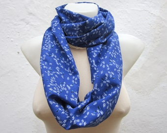 Loop Scarf, infinity Scarf, Cotton Fabric Scarf, Neckwarmer, Tube, Blue White  Black