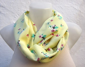 Flower pattern,infinity scarf,Loop scarf,Circle scarf,Tube scarf,Fabric scarf