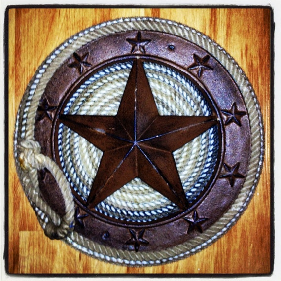 Texas Western Metal Star Wrapped With Lariat Cowboy Lasso