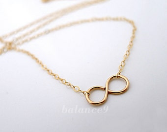 Infinity Necklace, gold filled necklace, small infinity symbol charm necklace, dainty everyday jewelry, holidays gift, by balance9