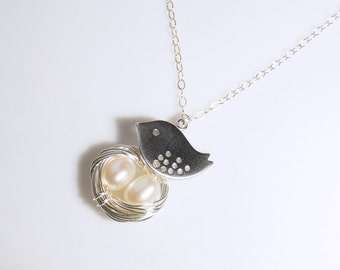 Bird nest necklace, Sterling silver necklace, personalized jewelry, mothers day gift, mom gift, wedding gift idea