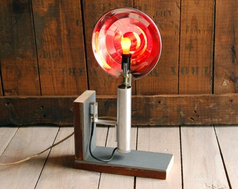 Upcycled Vintage Photo Flash Table Lamp, Handmade Upcycled Desk Lamp, Salvaged Wood