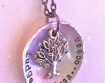 Sale--My Family Tree...Hammered. Organic.Earthly.Rustic Hand Stamped Necklace