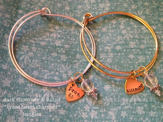 SALE-Brass Heart Charmed...Hand Stamped Double Bangle Charm Bracelet