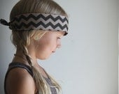 Fall Bandana headband in two tone brown chevron . geometric fall hair accessories . boho . hipster . tribal hair accessories .