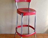 "Mid-Century Cosco Red & Chrome Kitchen Stool ""Nicely Distressed Retro Kitchen Fun"""