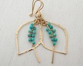 Turquoise Leaf Hoops Petite