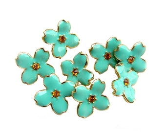 10  Pastel Green Enamel buttons Hydrangea Petal - Earring Stud, Bridemaid Hair Accessories, Bouquet Charm RB-069 (size 15mm or 0.6 inch)