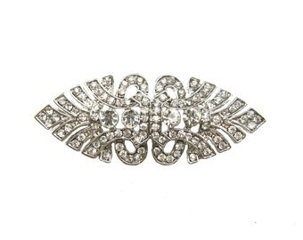 5 Art Deco Crystal Rhinestone Buttons - Wedding Invitation Card Hair Accessories Ring Pillow FRB-014 (57mm or 2.2inch)