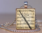 Vintage Bassoon Art Pendant on an Upcycled Scrabble Tile (143A1)