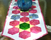 Quilted Table Runner Hexagons Flower Batik