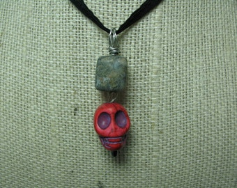 Necklace: Skull Pendant Pink Magnesite, Feldspar, and Hematite with Wire Wrap Bail Halloween Girlie Goth Inspired