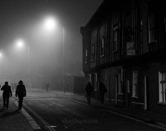 A foggy night 8x12 misty, foggy, night-time city scene
