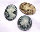3pcs Assorted Polymer Clay Cameo Girl Lady for Neckalce Pendant  e006